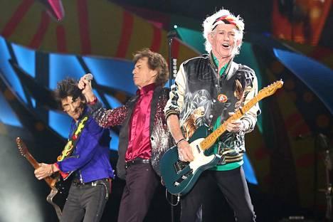 Viime maaliskuussa Rolling Stones esiintyi Kuuban Havannassa. Kuvassa Ronnie Wood (vas.), Mick Jagger ja Keith Richards.