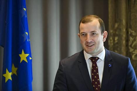 EU:n ympäristökomissaari Virginijus Sinkevičius Helsingissä tiistaina.