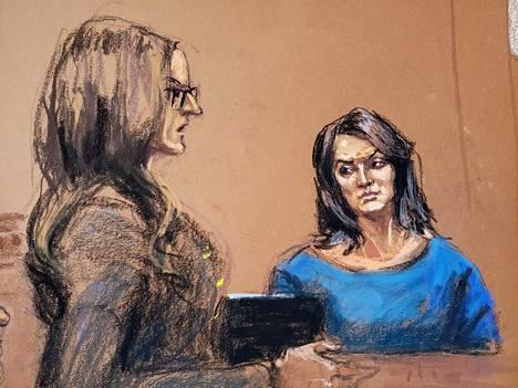 Oikeussalitaiteilija piirsi kuvan Annabella Sciorrasta todistajanaitiossa 23. tammikuuta.