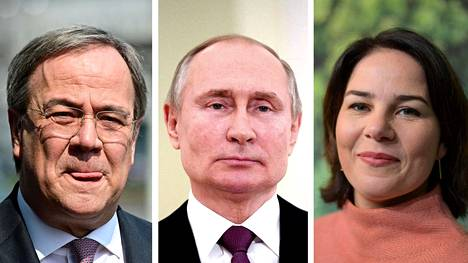 Armin Laschet, Vladimir Putin ja Annalena Baerbock.