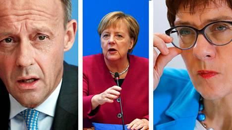 Friedrich Merz (vas.) ja Annegret Kramp-Karrenbauer (oik.) kilpailevat Angela Merkelin (kesk.) paikasta.