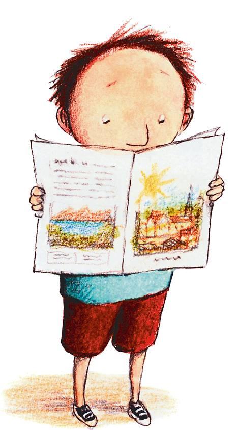 Timo katsoo esitettä <BR/>Kattilalaaksosta. <BR/>Pian lähdetään!<BR/> &#8211; Eva Erikssonin kuvitusta Anke Wagnerin kirjaan Timo ja Piko muuttavat.