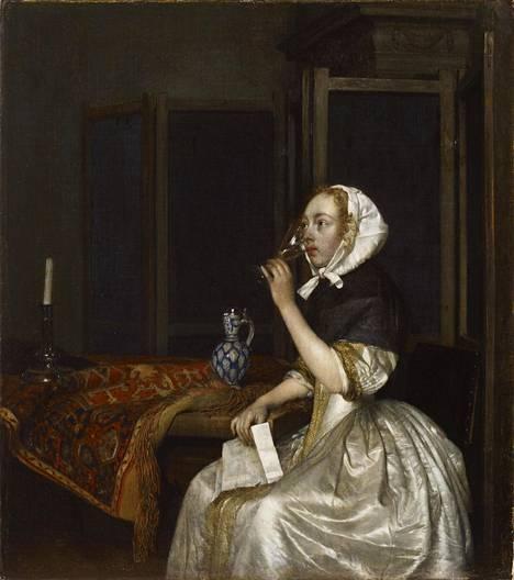 Gerard ter Borch: Viiniä juova nainen kirje kädessään, 1665, öljy kankaalle.