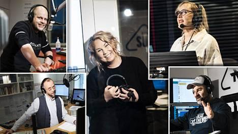 Anssi Honkanen (vas. ylh.), Timo Teräsvuori, Tinni Wickström, Olga Ketonen ja Marce Rendic ovat radiosta tuttuja ääniä.