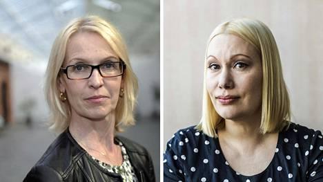 Ylen uutis- ja ajankohtaistoimituksen päällikkö Riitta Pihlajamäki (vas.) ja irtisanoutumisestaan ilmoittanut toimittaja Sanna Ukkola.