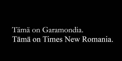 Times New Roman on Garamondia leveämpi fontti. Se on myös yksi käytetyimmistä.