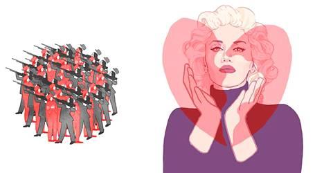 Salmi on tehnyt gif-animaatioita niin Suomen sisällissodasta (vas.) kuin poptähti Gwen Stefanista.