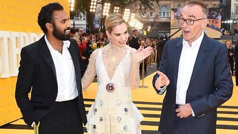 Yesterday-elokuvan ohjaaja Danny Boyle (oik.) yhdessä päätähtien Himesh Patelin (vas.) ja Lily Jamesin kanssa elokuvan Lontoon-ensi-illassa viime viikolla.