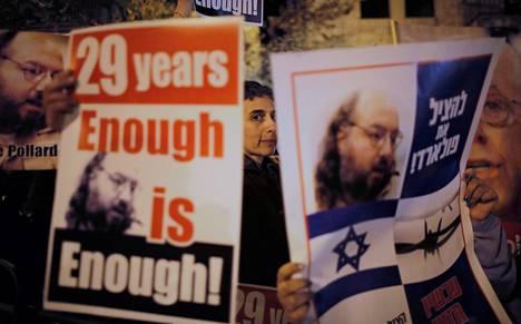 Israelilaiset vaativat Jonathan Pollardin vapauttamista tammikuussa Jerusalemissa pidetyssä mielenosoituksessa.