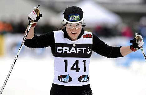 Krista Pärmäkoski oli nopein sununntaina Ounasvaaralal Suomen cupin kisassa.