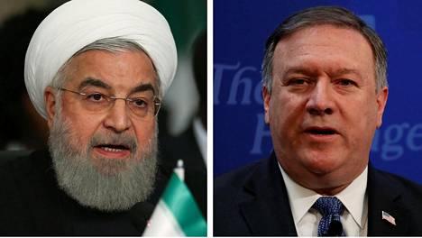 Iranin presidentti Hassan Ruhani ja Yhdysvaltain ulkoministeri Mike Pompeo.