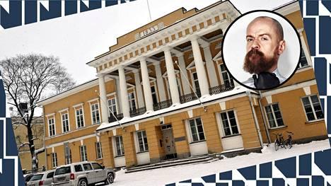Alexander Bard (oik.) ei puhu Åbo Akademin (vas.) tiloissa.