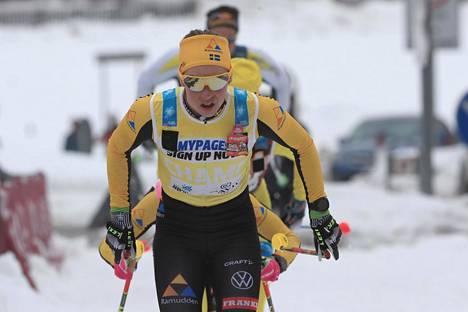 Lina Korsgren oli nopein Vasaloppetissa. Kuva Italian Marcialongasta 31. tammikuuta.