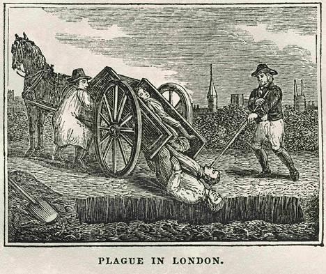 Lontoossa 1660-luvulla riehuneesta rutosta 1800-luvulla tehty painokuva.