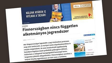 Origo-lehti julkaisi keskiviikkona artikkelin, jossa se väitti Suomen oikeusvaltion tilanteen olevan huono. Kuvakaappaus lehden verkkosivulta.
