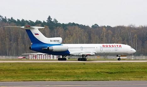 Suomen rajavartiolaitoksen mukaan toinen Suomen ilmatilaa loukannut kone oli Tupolev TU-154. Kuvassa Rossiya-lentoyhtiön saman tyyppinen lentokone.