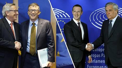Kättelyitä Brysselissä. Euroopan komission puheenjohtaja Jean-Claude Juncker (vas.) tapasi Microsoftin perustajan Bill Gatesin tammikuussa 2015, Facebookin toimitusjohtaja Mark Zuckerberg puristi Euroopan parlamentin puhemiehen Antonio Tajanin kättä toukokuussa 2018.