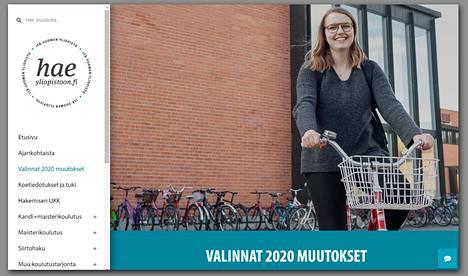 Näkymä Itä-Suomen yliopiston nettisivun valintakoeosiosta.