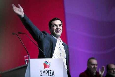 Kreikkalaisen Syriza-puolueen puheenjohtaja Alexis Tsipras Ateenassa lauantaina.