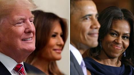 Presidenttin Donald Trump ja Melania Trump sekä Barack Obama ja Michelle Obama.