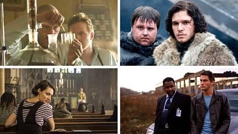 Breaking Bad (vasemmalla ylhäällä), Game of Thrones (oikealla ylhäällä), Fleabag (vasemmalla alhaalla) ja The Wire.