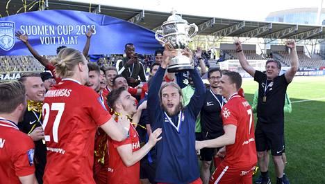 Inter juhli viime keväänä Suomen cupin voittoa.