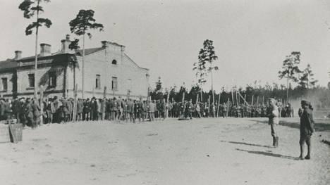 Vankeja ruokajonossa piikkilanka-aidan takana Tammisaaren vankileirillä kesällä 1918.