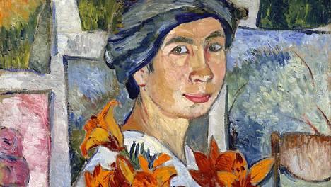 Natalia Gontšarova: Omakuva keltaisten liljojen kanssa (1907–1908)