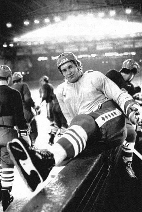 Hagman maajoukkueen harjoituksissa Prahan MM-kisoissa vuonna 1978.