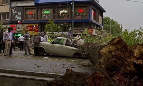 Hiekkamyrskyn kaatama puu murskasi auton Teheranissa maanantaina.