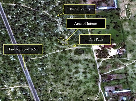 Burundin pääkaupungin Bujumbaran pohjoispuolella näkyy kaivamisen jälkiä Amnestyn satelliittikuvissa paikoissa, joissa todistajat kertovat mahdollisista joukkohaudoista.