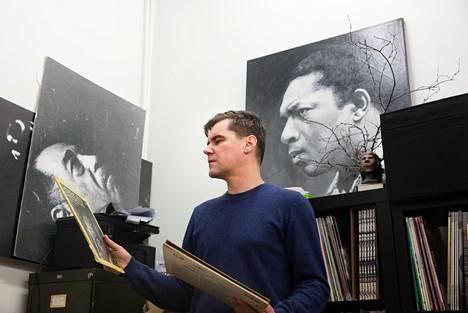 Matti Nives We Jazz Record Shopissa Helsingin Eurantiellä.