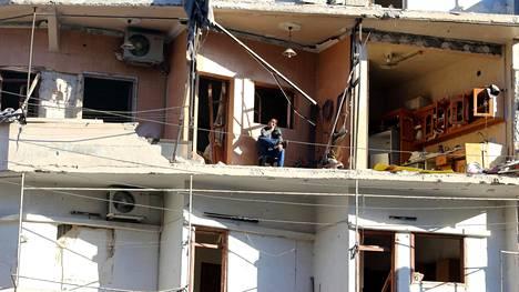 Asuintalo Itä-Aleppossa al-Sukkarin alueella on pahoin vaurioitunut pommituksissa.