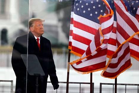Trump puhui kannattajilleen keskiviikkona Washingtonissa.