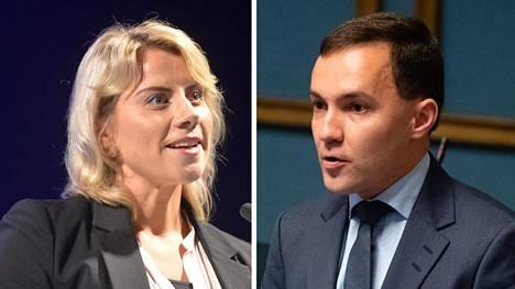 Saara-Sofia Sirén ja Wille Rydman edustavat kokoomuksen eri laitoja. He myös näkevät puolueen tilanteen eri tavoin.