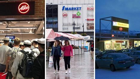 Alkon myymälöitä on muiden muassa Espoon Otaniemestä (vas.), Kuopion keskustasta ja Utsjoen Nuorgamista.