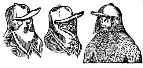 Hartioille ulottuvaa karpus-päähinettä pystyi pitämään monella eri tavalla. Piirroskuva 1600-luvun lopulta on ruotsalaisen tiedemiehen Olaus Rudbeckin tekemä.
