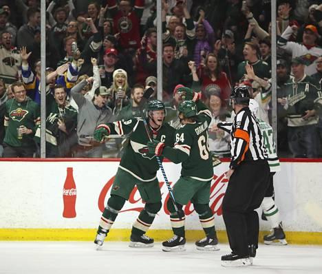 Minnesota Wildin Mikko Koivu (9) ja Mikael Granlund ovat muodostaneet hyvän kaksikon. Nähtäväksi jää, toimiiko yhteys vielä tälläkin kaudella.