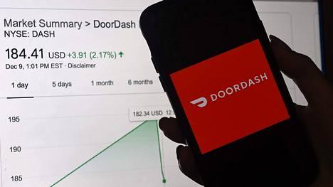 Ruuankuljetusyhtiö Doordashin kurssi nousi ensimmäisenä pörssipäivänä yli 80 prosenttia.