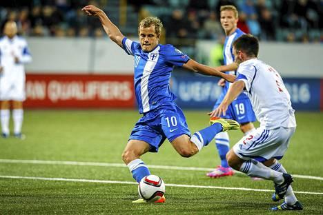 Teemu Pukki pelasi kelpo ottellun EM-avauksessa Färsaaria vastaan.