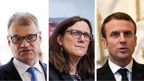 Juha Supilä, Cecilia Malmström ja Emmanuel Macron