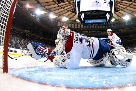 Dustin Tokarski on yrittänyt parhaansa Montrealin maalilla.