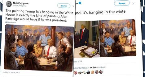 Donald Trumpista ja entisistä presidenteistä tehty maalaus roikkuu Valkoisen talon seinällä.