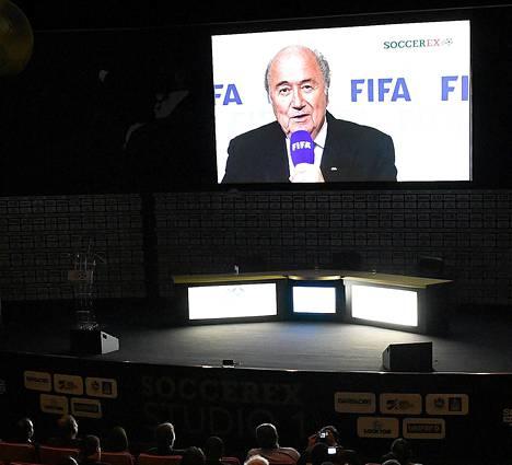 Sepp Blatter tervehti maanantaina Soccerex Global Conventionin vieraita videopuheella.