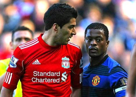 Liverpoolin Luis Suarez ja Manchester Unitedin Patrice Evra kävivät kiistellyn sananvaihdon lokakuussa.