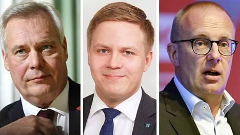 Sdp:n puheenjohtaja Antti Rinne (vas.), kokoomusnuorten puheenjohtaja Henrik Vuornos ja SAK:n puheenjohtaja Jarkko Eloranta.