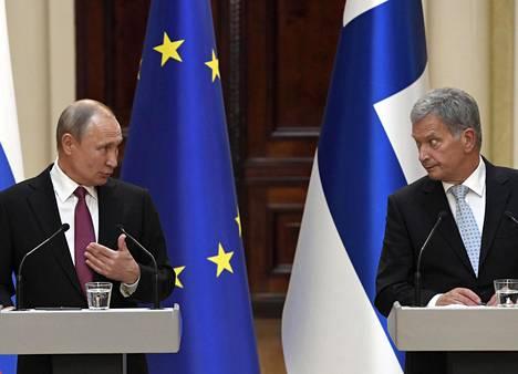Venäjän presidentti Vladimir Putin ja Suomen tasavallan presidentti Sauli Niinistö vuonna 2019 Helsingissä.