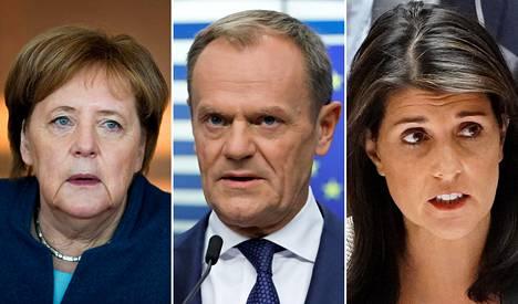 Angela Merkel, Donald Tusk ja Nikki Haley.