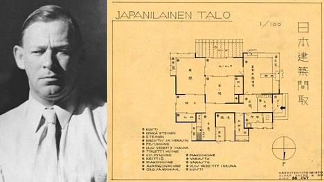 Alvar Aalto ja suunnitelma Japanilaiseksi taloksi vuodelta 1939 tai 1940.