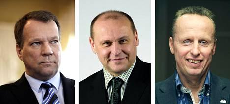 Jukka Mäkelä (vas.), Ari Konttas ja Markku Sistonen.